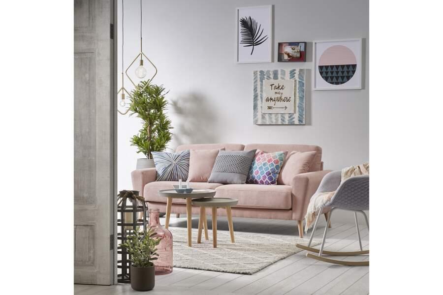 Canapé rose en tissu