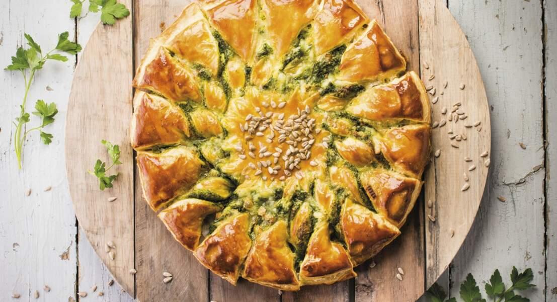Tarte soleil à la tartiflette, crème de persil et graines de tournesol