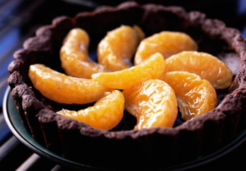 Tartelettes chocolat-clémentines confites