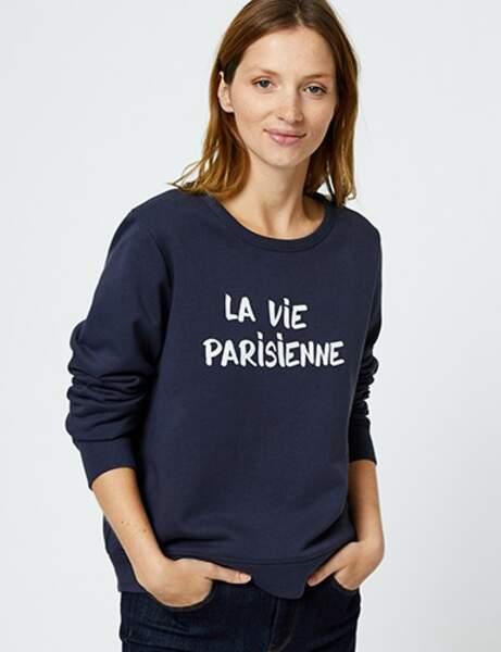 Top et pull à message : Parisienne