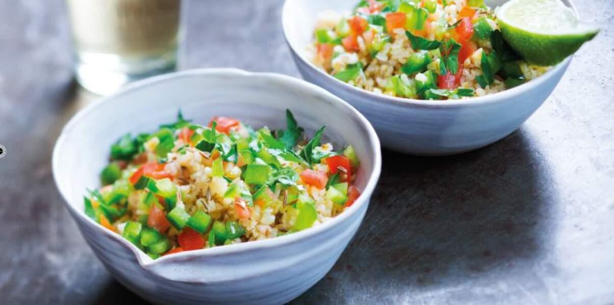 Boulgour et salade marocaine au citron vert