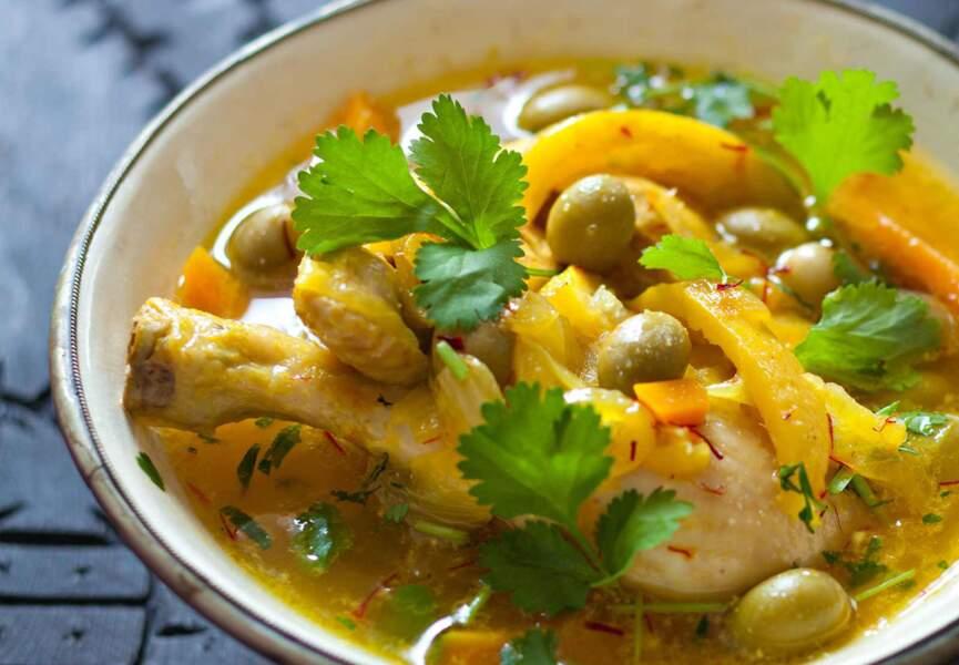 Tagine au poulet, olives et citron confit