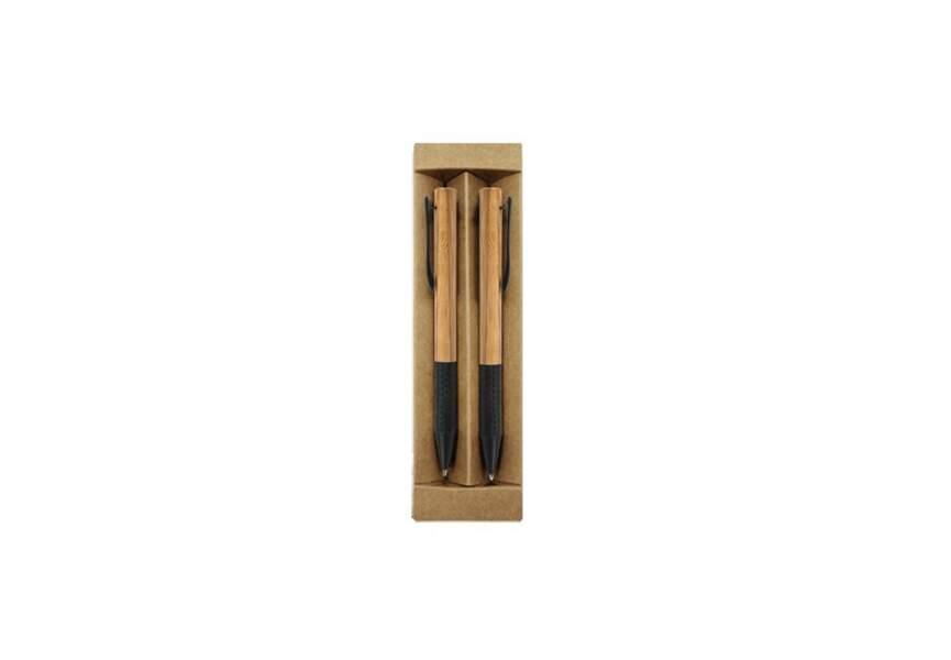 Une parure de stylos billes en bambou