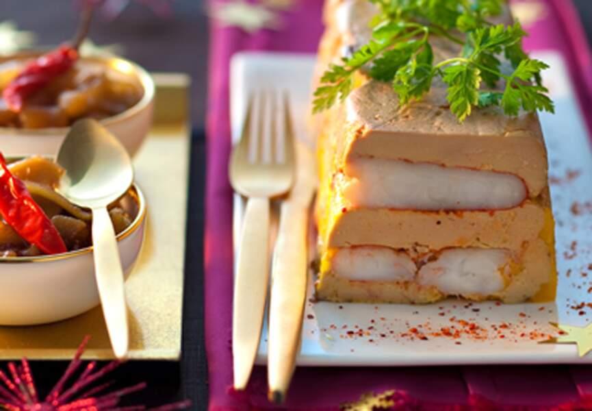 Terrine de foie gras à la langouste et chutney de mangues