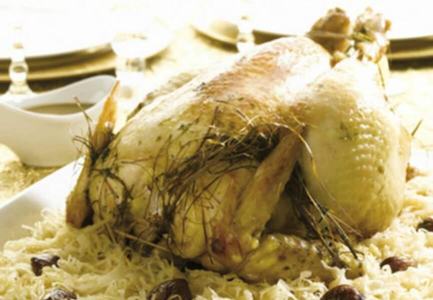Chapon & choucroute à l'infusion de foin