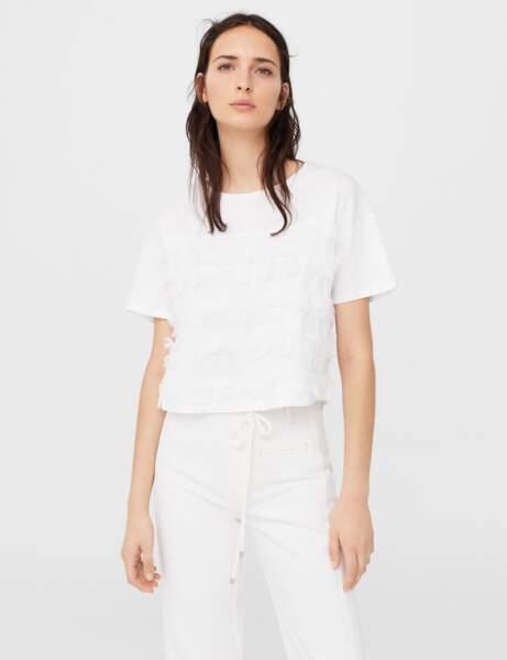 T-shirt blanc : plumes