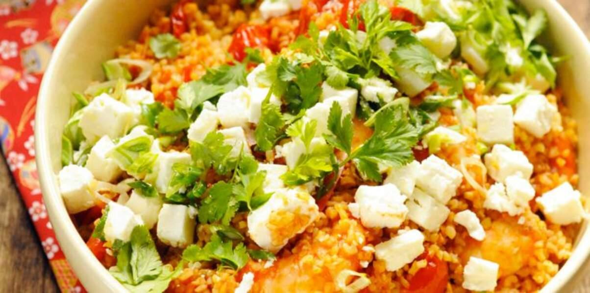Boulgour au Salakis nature et aux crevettes à la tomate
