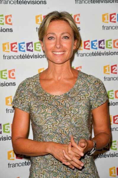 Anne-Sophie Lapix à la présentation de la nouvelle dynamique de France Télévisions le 5 juillet 2017.