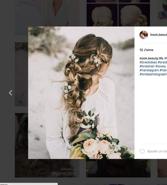 Coiffure de mariage pour cheveux longs : la tresse oversize