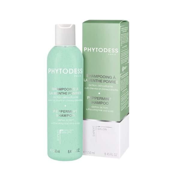 Shampooing à la Menthe Poivrée - Action Détoxifiante, Phytodess, flacon 250 ml, prix indicatif : 23,50 €