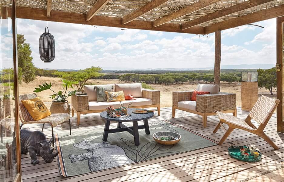Canapé de jardin 3 places en résine tressée et toile taupe clair