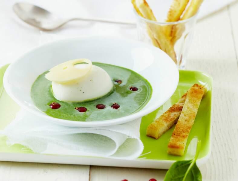 Crémeuse d'épinards au St Môret® , œuf mollet, groseilles et wasabi