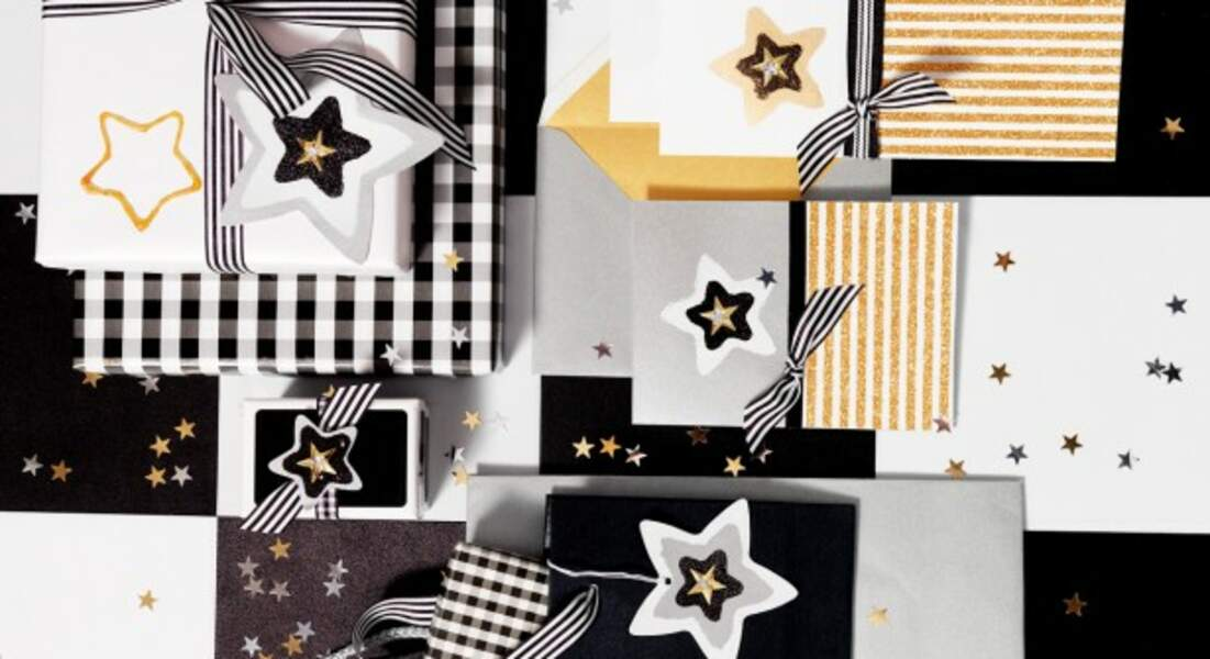 Noël : emballages de cadeaux et étiquettes