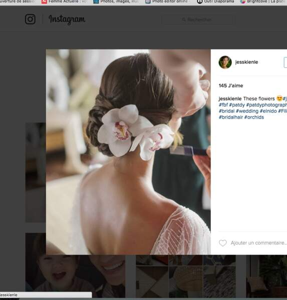 Coiffure de mariage pour cheveux longs : le chignon orchidée