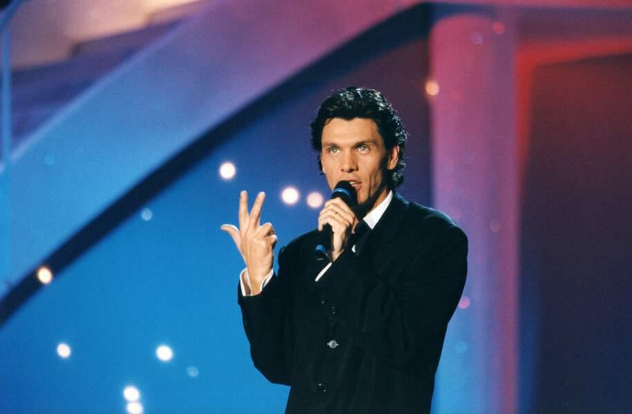 Marc Lavoine sur une émission de télévision en 1997.