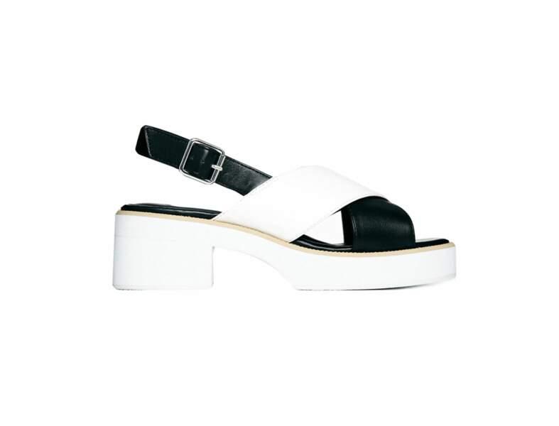 La combinaison longue + les sandales à talons