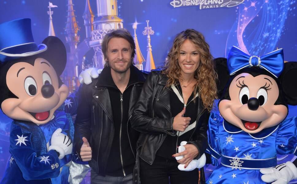 Philippe Lacheau et sa compagne Elodie Fontan au 25ème anniversaire de Disneyland Paris le 25 mars 2017.