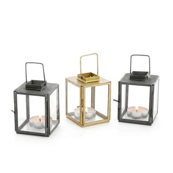 Mini-lanterne en verre et métal