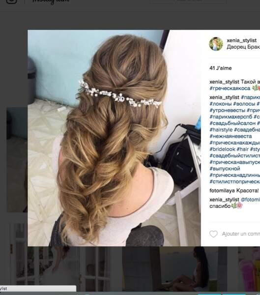 Coiffure de mariage pour cheveux longs : le tombé perlé