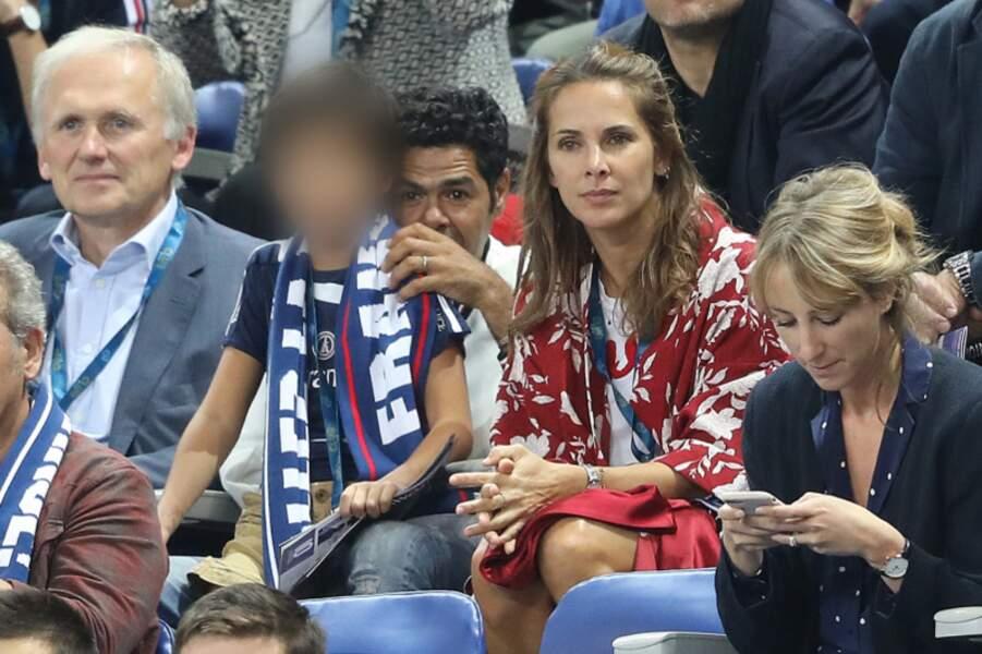 Jamel Debbouze, sa femme Mélissa Theuriau et leur fils Léon dans les tribunes du stade de France