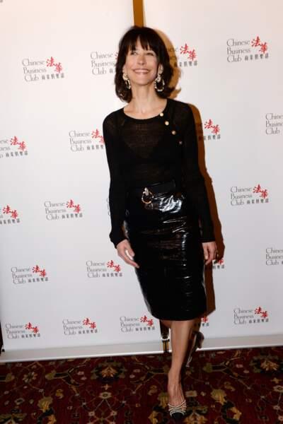 Sophie Marceau en 2016 en total look noir
