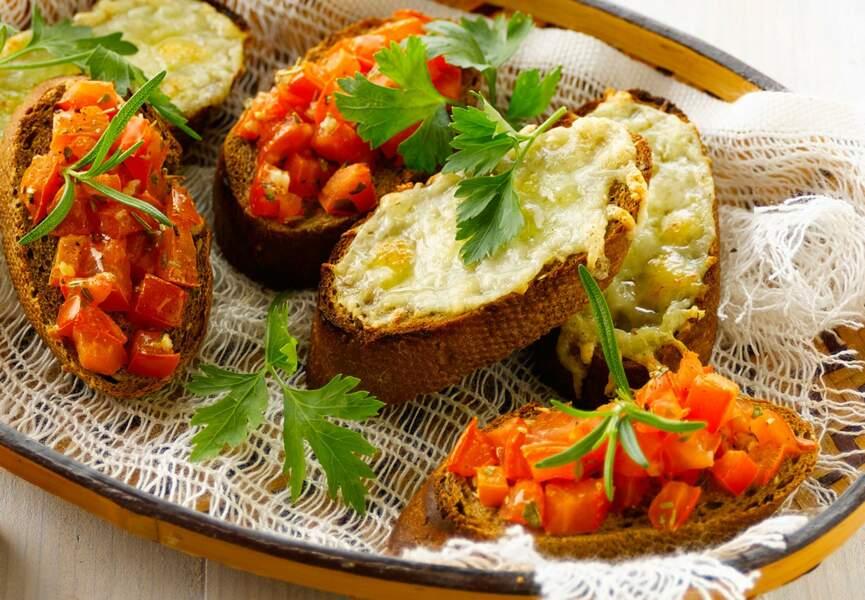 Bruschettas à la tomate et à la mozzarella