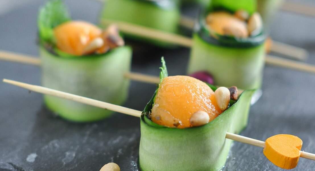 Bouchée courgette-melon menthe-pesto