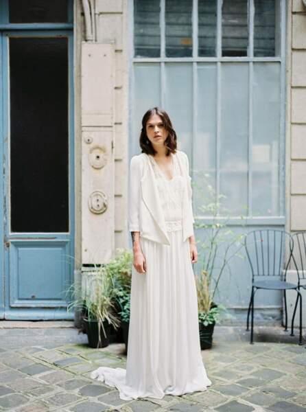 Mariage en hiver : Robe de mariée et veste Delphine par Stéphanie Wolff