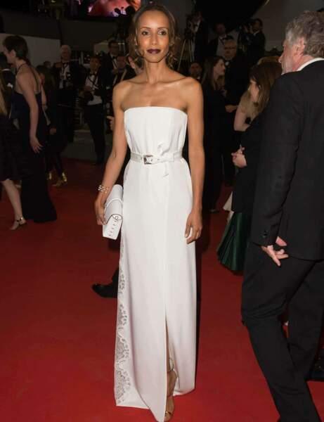 Sonia Rolland en robe blanche bustier