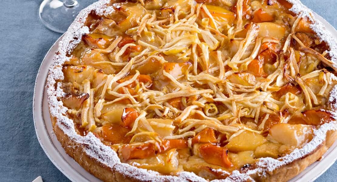 Tarte pommes poires abricots et pêche