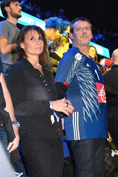 Jean-Luc Reichmann et sa femme Nathalie pour la finale de la coupe du monde de handball en 2017