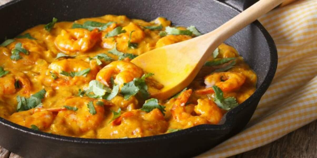 Poêlée de crevettes curry-coco