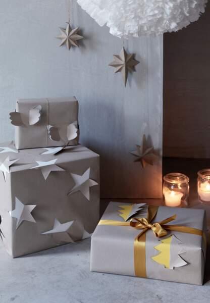 Une déco de Noël pastel en papier : les emballage 3D