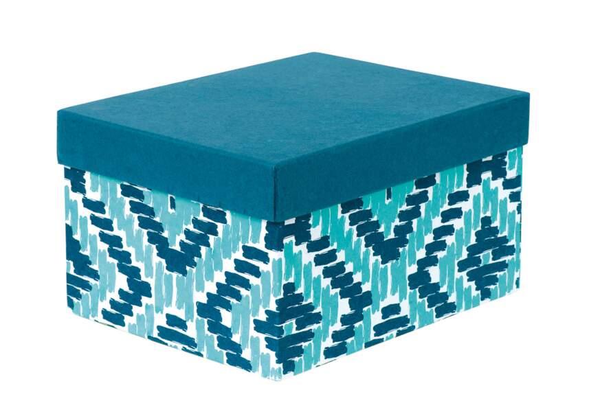 Boite bleu imprimée