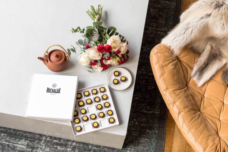 Bouquet de Saint Valentin et écrin de chocolat Michalak - Bergamotte