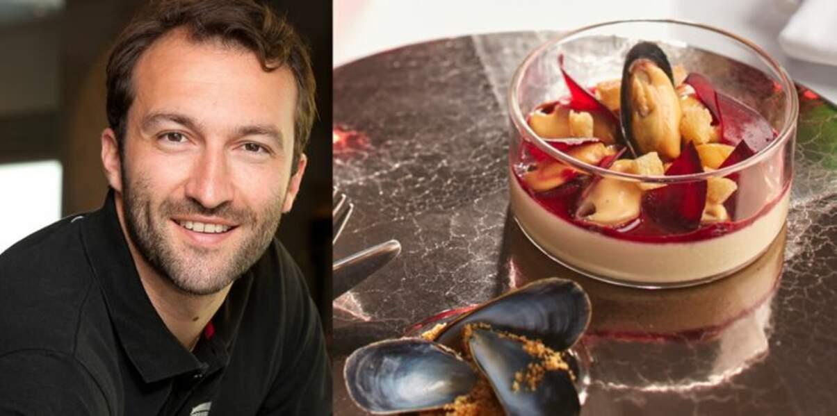Verrine de foie gras en panna cotta et moule marinière de Cédric Béchade