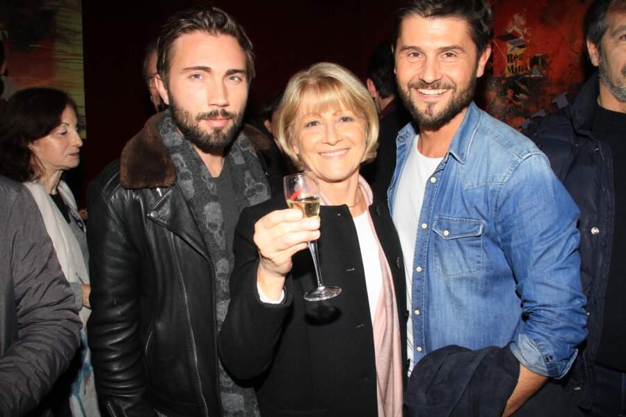 Christophe Beaugrand, sa mère Michèle et Ghislain Gerin à Paris, le 13 janvier 2019