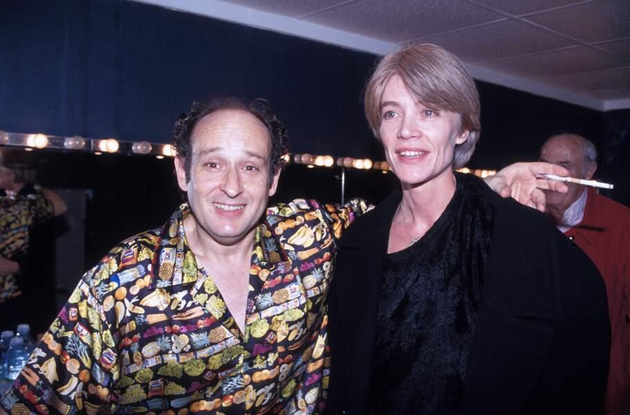 Michel Jonasz et Françoise Hardy après le concert du chanteur au Zenith de Paris en novembre 1992.