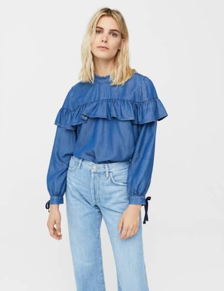 Mango : la chemise à volants en denim