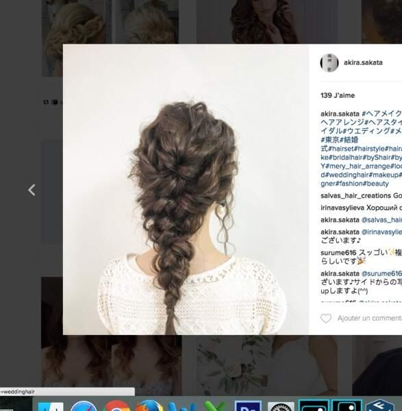 Coiffure de mariage pour cheveux longs : la tresse cascade