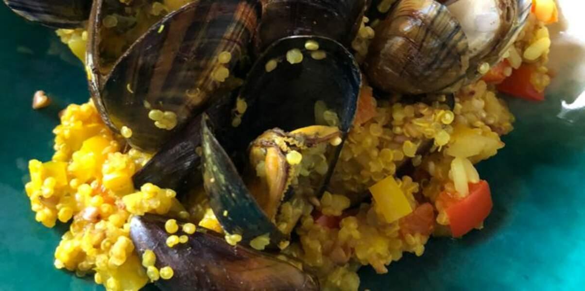 Moules au curry, coco, poivrons et quinori
