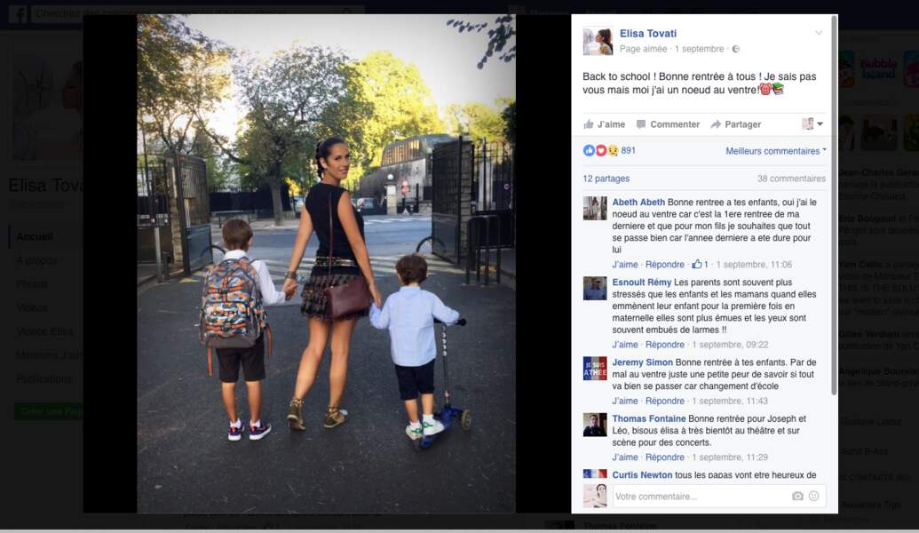 Les fils d'Elisa Tovati, Joseph, 7 ans, et Léo, 4 ans, sont bien accompagnés pour la rentrée