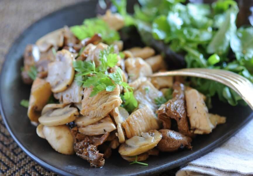 Sauté de dinde aux champignons