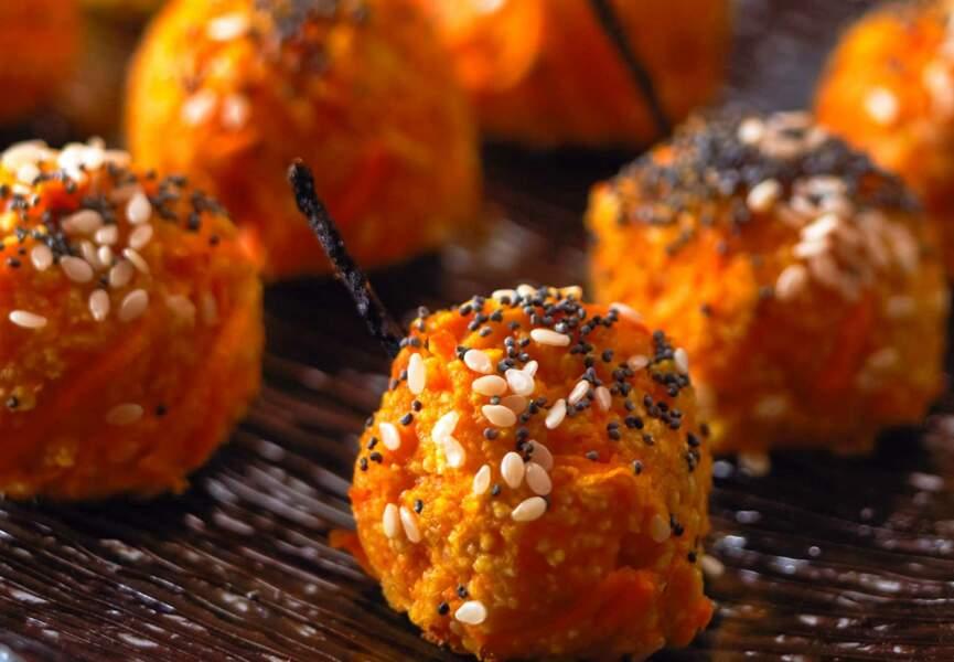 Croquettes de carotte au cumin, sésame et pavot