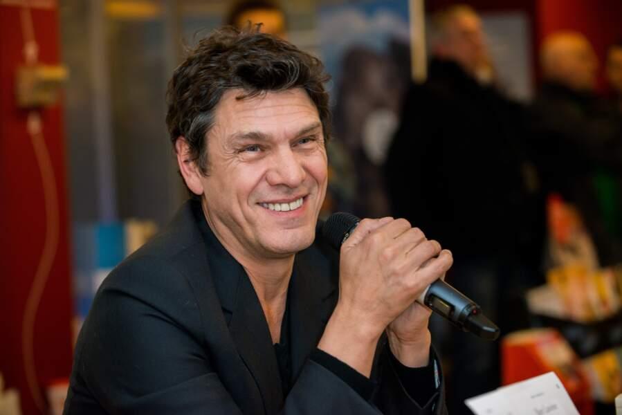 """Marc Lavoine en promotion pour son livre """"L'homme qui ment"""" à Bruxelles, en Belgique, le 3 février 2015."""