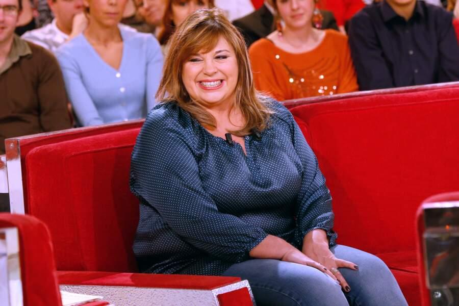 Michèle Bernier sur le plateau de Vivement Dimanche en janvier 2014.