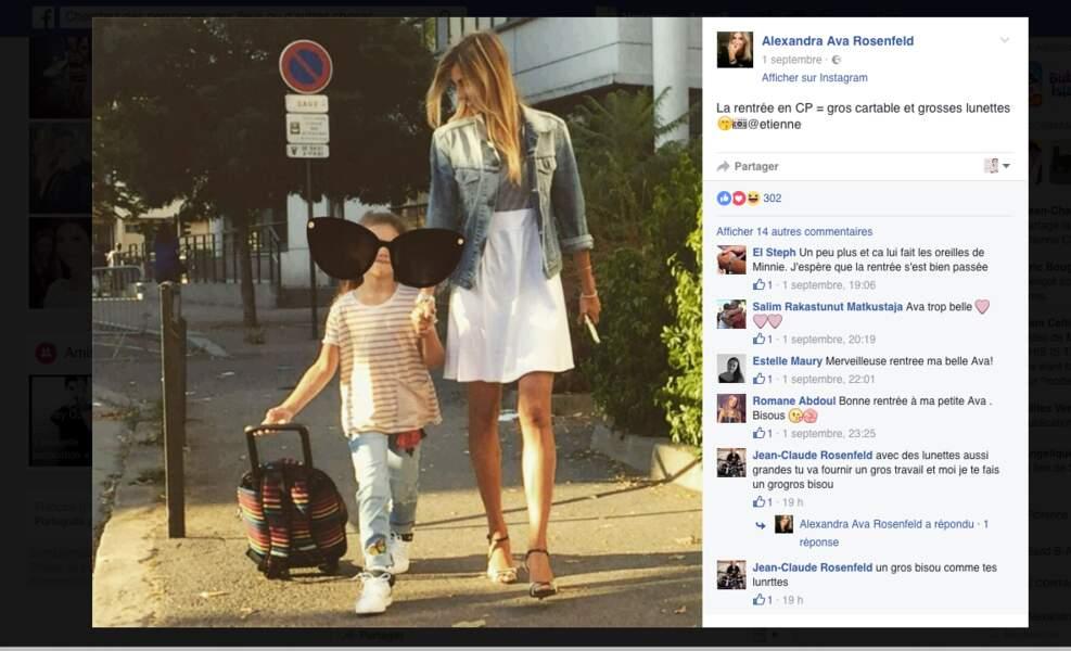 Ava, 6 ans, la fille d'Alexandra Rosenfeld prend le chemin de l'école