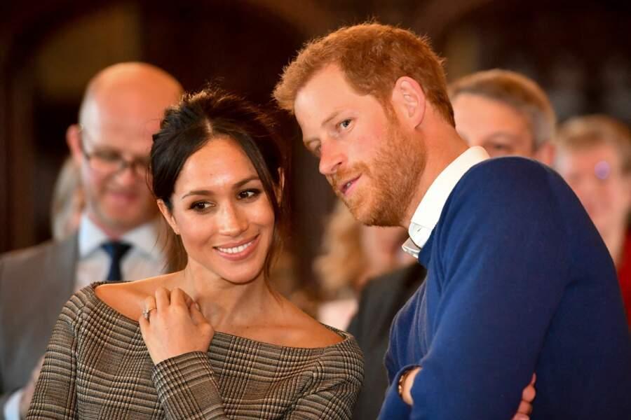 Le prince Harry et Meghan Markle au château de Cardiff en janvier 2018
