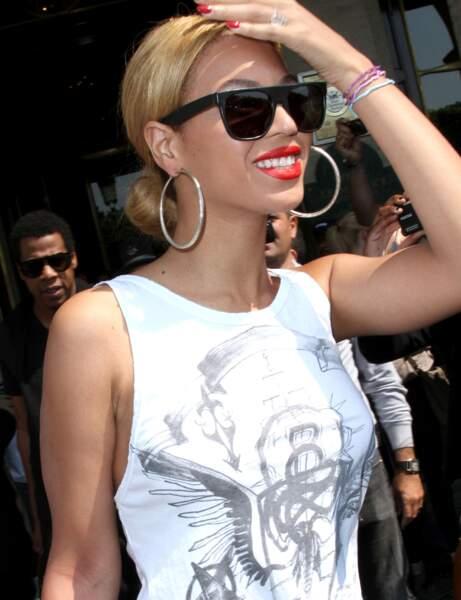 La bouche rouge mate de Beyoncé