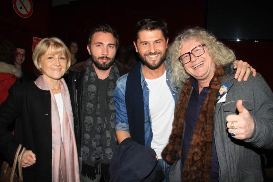 Christophe Beaugrand, sa mère Michèle, Ghislain Gerin et Pierre-Jean Chalençon à Paris, le 13 janvier 2019